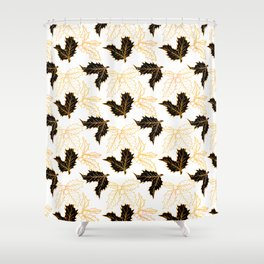 Holly Sprigs (Golden Calico) - White Shower Curtain