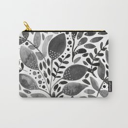 Watercolor leaves - black and white Carry-All Pouch