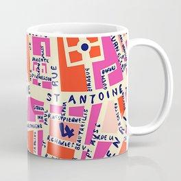 paris map pink Coffee Mug
