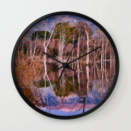 Mammoth Lagoon And Sierra Nevada National Park.. Calm Sunset Wall Clock