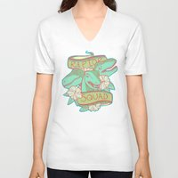 trex V-neck T-shirts featuring Raptor Squad by Charleighkat