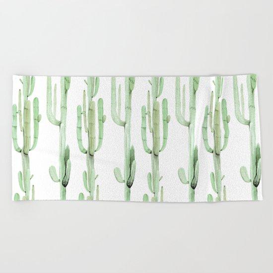 Arizona Wilderness Cactus Green Pattern Beach Towel