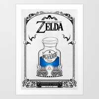 legend of zelda Art Prints featuring Zelda legend - Blue potion  by Art & Be