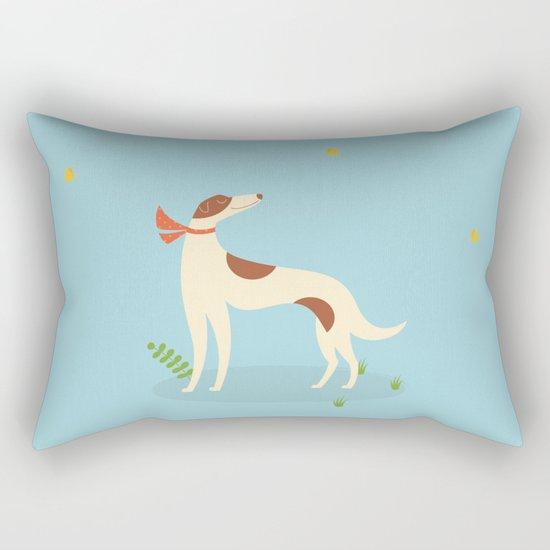 Borzoi And Butterfly Rectangular Pillow