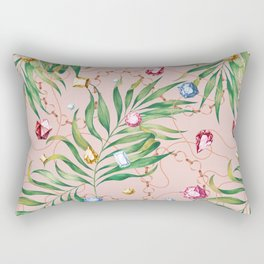 Glamorous Palm Pink Rectangular Pillow