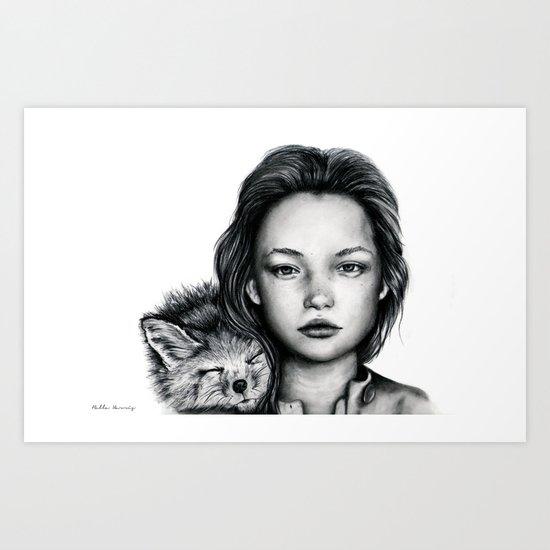 The Girl and Fox Art Print