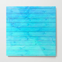 bright cyan blue distressed stained painted wood board wall Metal Print