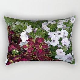 Burgundy & White Flowers 001 Rectangular Pillow