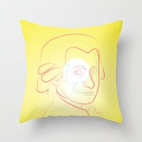 mozart Throw Pillows featuring Mozart by Raúl Yslas