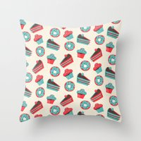 happy birthday Throw Pillows featuring happy birthday  by marella