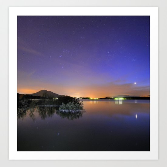 Venus, Orion, Taurus and the Pleiades reflected at the lake Art Print