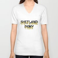 pony V-neck T-shirts featuring Shetland Pony by mailboxdisco