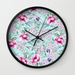 Floral Pattern Mint Wall Clock
