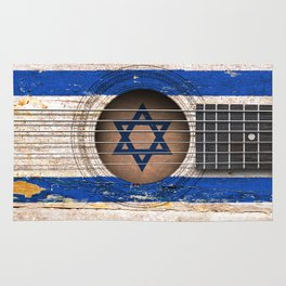 Old Vintage Acoustic Guitar with Israeli Flag Rug