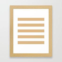Burlywood - solid color - white stripes pattern Framed Art Print