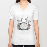 drums V-neck T-shirts featuring Mushroom drums by Anion