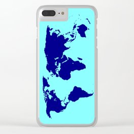 World Silhouette In Blue Clear iPhone Case