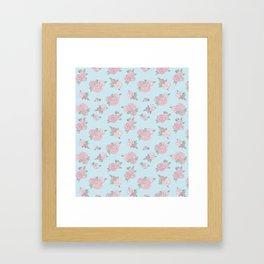 La Vie en Rose - Pink Blue Roses Pattern Framed Art Print