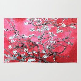 Van Gogh Almond Blossoms : Reddish Pink & Light Blue Rug