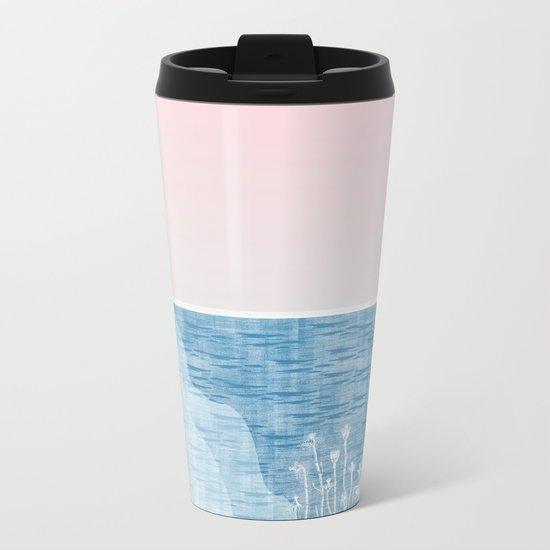 Pastel Sea Landscape Design Metal Travel Mug