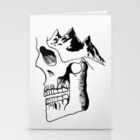 three of the possessed Stationery Cards featuring Possessed by the Mountains by Le Bureau Noir Studio