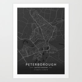 Peterborough, United Kingdom - Dark Map Art Print