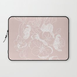 Floral Ink - Winter Roses in Blush Pink Laptop Sleeve