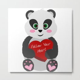 "Baby Panda with a Box - Heart ""Follow Your Heart"" Metal Print"