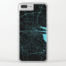 Dublin Ireland Black on Turquoise Street Map Clear iPhone Case