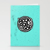 rock and roll Stationery Cards featuring Rock & Roll God by Josh LaFayette