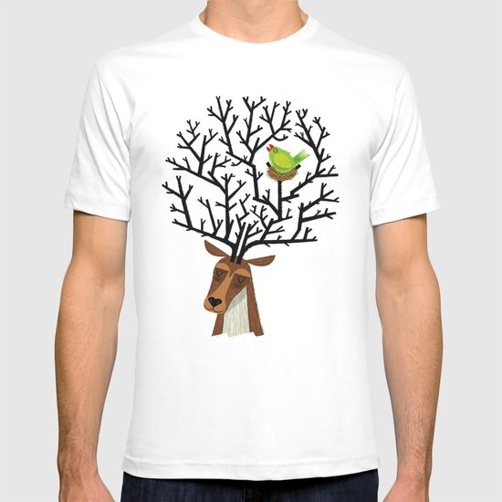 The Tree Stag and The Green Finch T-shirt