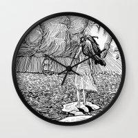 return Wall Clocks featuring Return Soon... by Mr.Willow