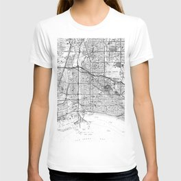 Vintage Map of Long Beach California (1964) BW T-shirt