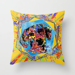 Dachshund dog  - Doxie Abstract Mixed Media Throw Pillow