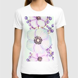 Turquoise And Violet Flowers T-shirt