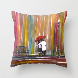 Love in the Rain romantic painting by Manjiri Kanvinde Throw Pillow