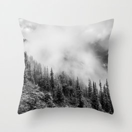 Fog in the Mountains | Black and White Photography | Landscape | black-and-white | bw Throw Pillow