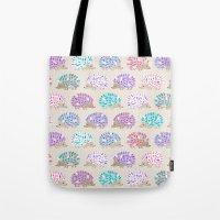 polkadot Tote Bags featuring Hedgehog polkadot by Heleen van Buul
