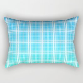 Faded and Shaded Aqua Blue and White Tartan Plaid Check Rectangular Pillow