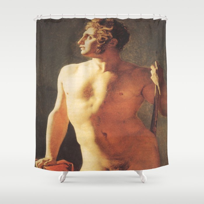A Male Torso by Jean-Auguste-Dominique Ingres Shower Curtain