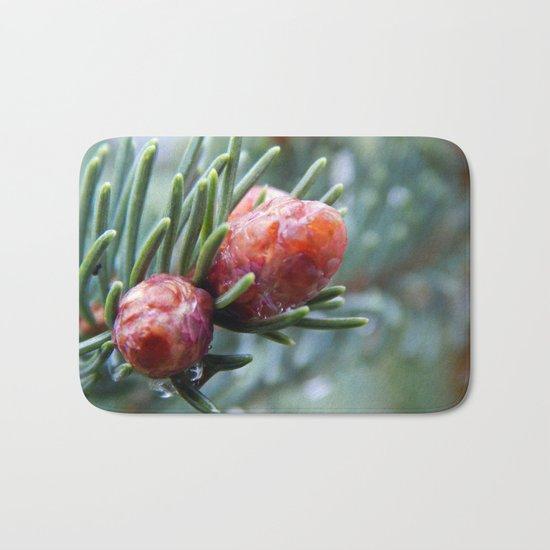 Tiny Red Pine Cones Bath Mat