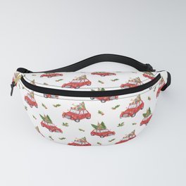 Santa Claus christmas car in winter forest  Fanny Pack