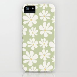 Floral Daisy Pattern - Green iPhone Case