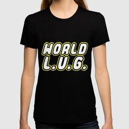 WORLD L.U.G. [LEGO USERS GROUP] in Brick Font Logo Design by Chillee Wilson T-shirt