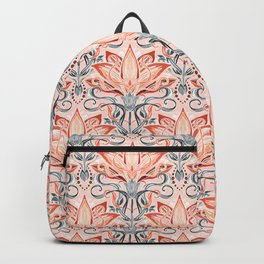Coral and Grey Watercolor Art Nouveau Aloe Backpack