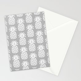 Mid Century Modern Pineapple Pattern Grey Stationery Cards