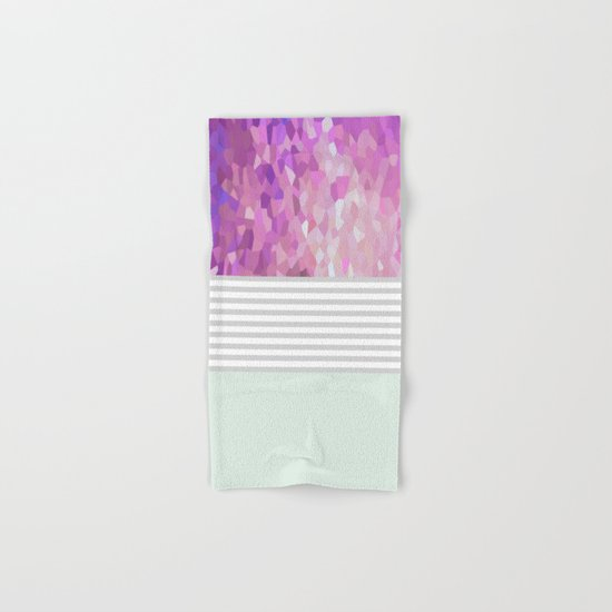 Pink Dreams on grey stripes Hand & Bath Towel