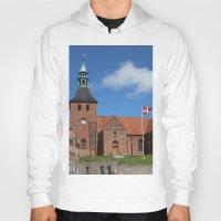 denmark Hoodies featuring Vor Frue Kirke, Svendborg, Denmark by Anders Riise Koch