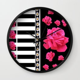 BLACK & WHITE ROSE  PATTERNED ART Wall Clock