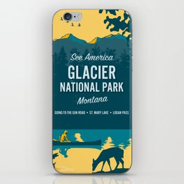 See Amercia Glacier National Park Travel Poster iPhone Skin